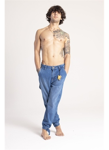 XHAN Mavi Paçası Bantlı Jogger Kot Pantolon 1Kxe5-44668-12 Mavi
